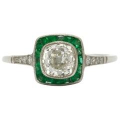 Art Deco Style Diamond Engagement Ring Emerald Halo Platinum Old Mine Cushion