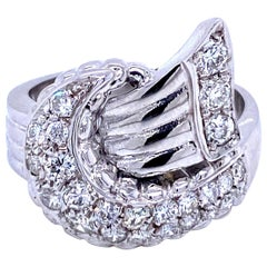 Art Deco Style Diamond Gold Bow Ring