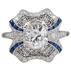 Art Deco Style Diamond Ring with Sapphire Accents