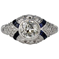 Art Deco Style Diamond Ring with Sapphires Set in 18 Karat White Gold