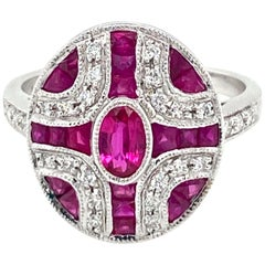 Art Deco Style Diamond Ruby Cocktail Ring Estate Fine Jewelry