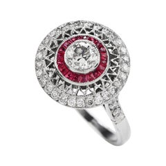 Art Deco Style Diamond Ruby Engagement Cocktail Ring