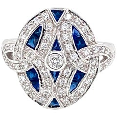 Art Deco Style Diamond Sapphire Cocktail Ring Estate Fine Jewelry