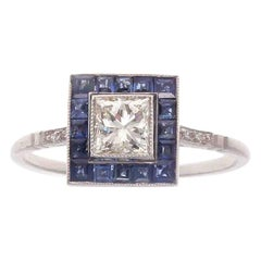 Art Deco Style Diamond Sapphire Platinum Ring