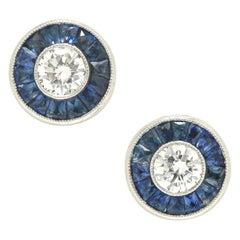 Art Deco Style Diamond Sapphire Stud Earrings Target Design Platinum Halo