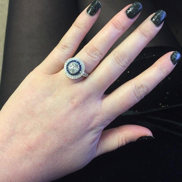 Women's or Men's Art Deco Style Diamond Sapphire Target Engagement Ring For Sale