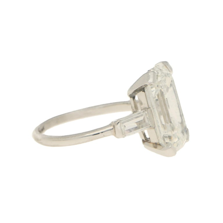 Emerald Cut GIA Certified Art Deco Style Diamond Step Cut Engagement Ring Set in Platinum For Sale