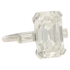GIA Certified Art Deco Style Diamond Step Cut Engagement Ring Set in Platinum