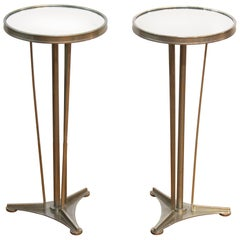 Art Deco Style Diminutive Metal Side Tables with Mirrored Tops