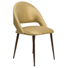 Art Deco Style Dining Chair with Round Legs and Vinyl Upholstery 'Customizable'