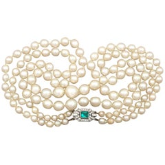 Art Deco Style Double Strand Pearl Necklace with White Gold and Diamond Clasp