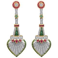 Art Deco Style Drop Diamond, Ruby and Emerald Earrings, 18 Karat Gold