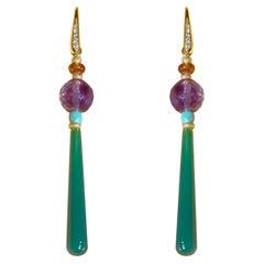 Art Deco Style Drops 18kt Gold 0.12kt Diamond Amethyst Turquoise Dangle Earrings