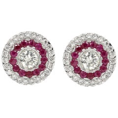 Art Deco Style Earring 18 Karat White Gold Diamonds & Ruby Earrings Large Studs