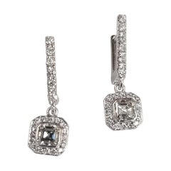 """""""Art Deco Style"""" Earrings 14k White Gold with 2 Assher Cut Diamonds in a Halo"""