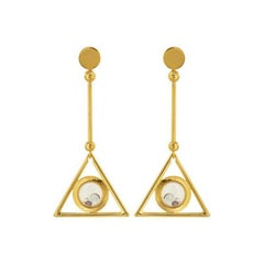 Art Deco Style Earrings with Floating Stones in Gold