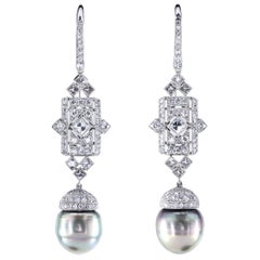 Art Deco Style Earrings with Pearls, Round and French Cut Diamonds In Platinum