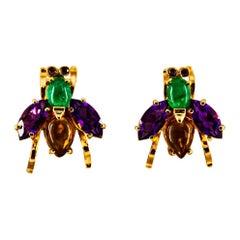Art Deco Style Emerald Amethyst Citrine Ruby Yellow Gold Stud Flies Earrings
