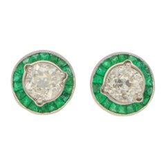 Art Deco Style Emerald and Diamond Convertible Stud Earrings Set in Platinum