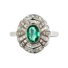 Art Deco Style Emerald and Diamond Ring, 18 Karat White Gold
