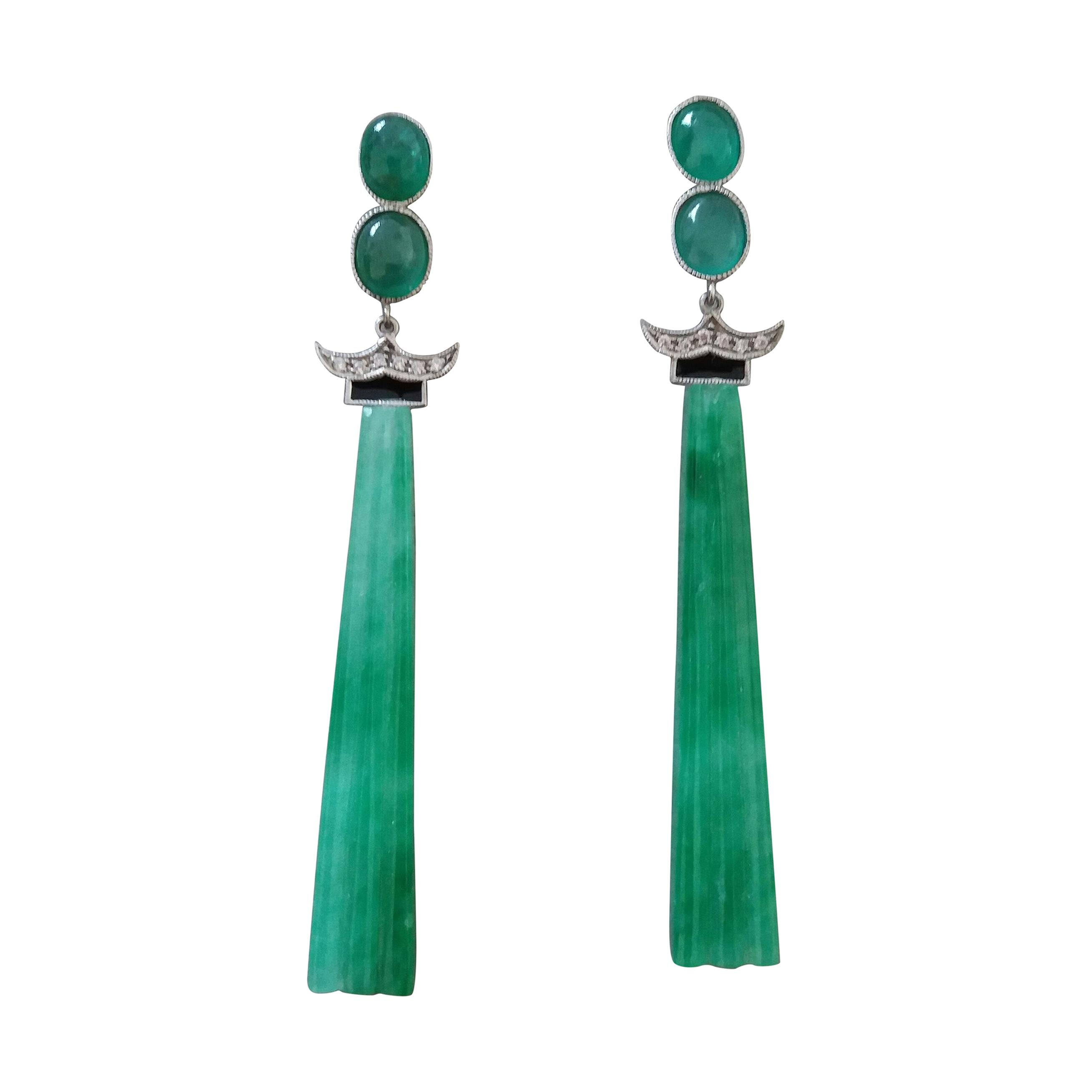 Art Deco Style Emerald Cabs Enamel Gold Diamonds Carved Jade Dangle Earrings