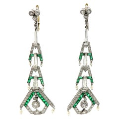 Art Deco Style Emerald & Diamond Chandelier Dangle Earrings Platinum & 18K Gold