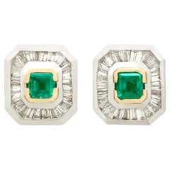 Art Deco Style Emerald, Diamond, Yellow Gold and Platinum Earrings
