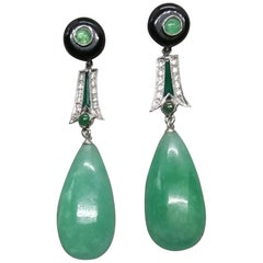 Art Deco Style Emeralds Gold Diamonds Enamels Burma Jade Round Drops Earrings
