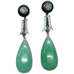Art Deco Style Emeralds Gold Diamonds Enamels Burma Jade Round Drops Earrings