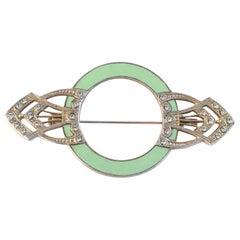 Art Deco Style Enamel and Diamante Brooch
