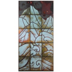 Art Deco Style Enameled Tile on Panel Wall Hanging