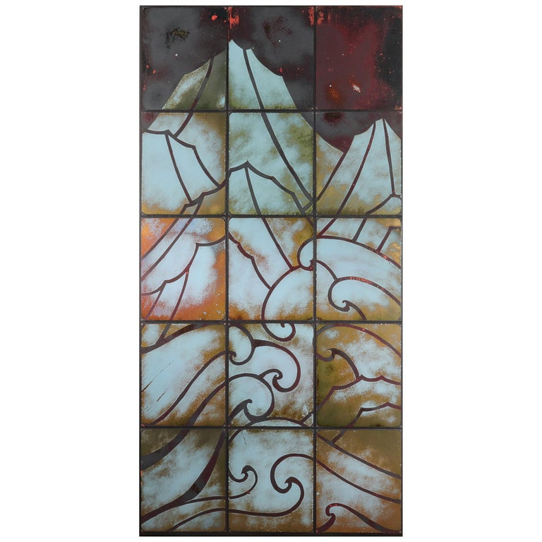 Art Deco Style Enameled Tile on Panel Wall Hanging For Sale