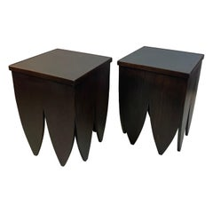 Art Deco Style End Tables with Leather Tops