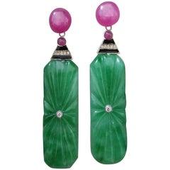 Art Deco Style Engraved Burma Jade Enamel Ruby Gold Diamonds Dangle Earrings
