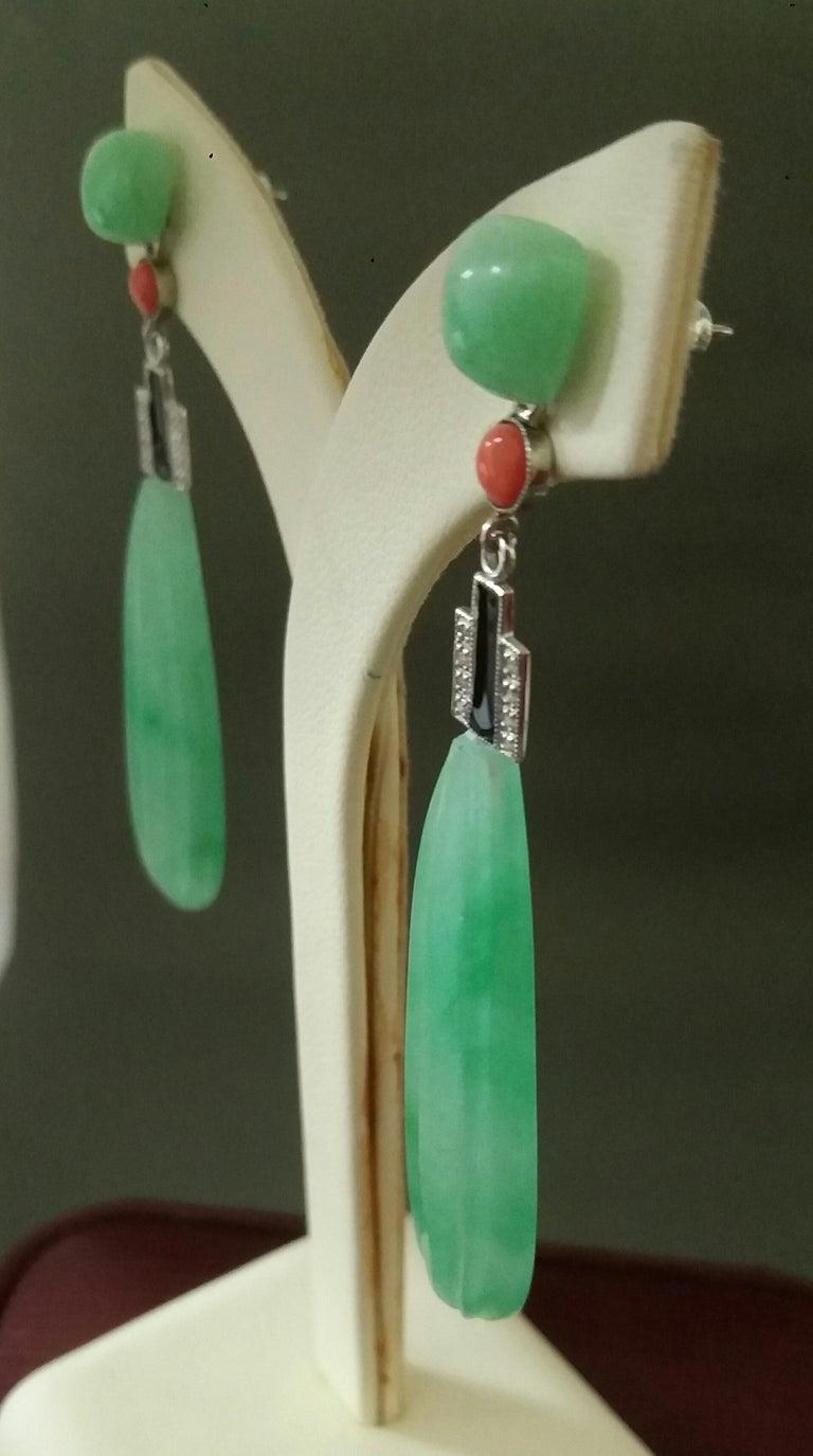 Art Deco Style Engraved Jade Coral Gold Diamonds Black Enamel Flat Drop Earrings For Sale 3
