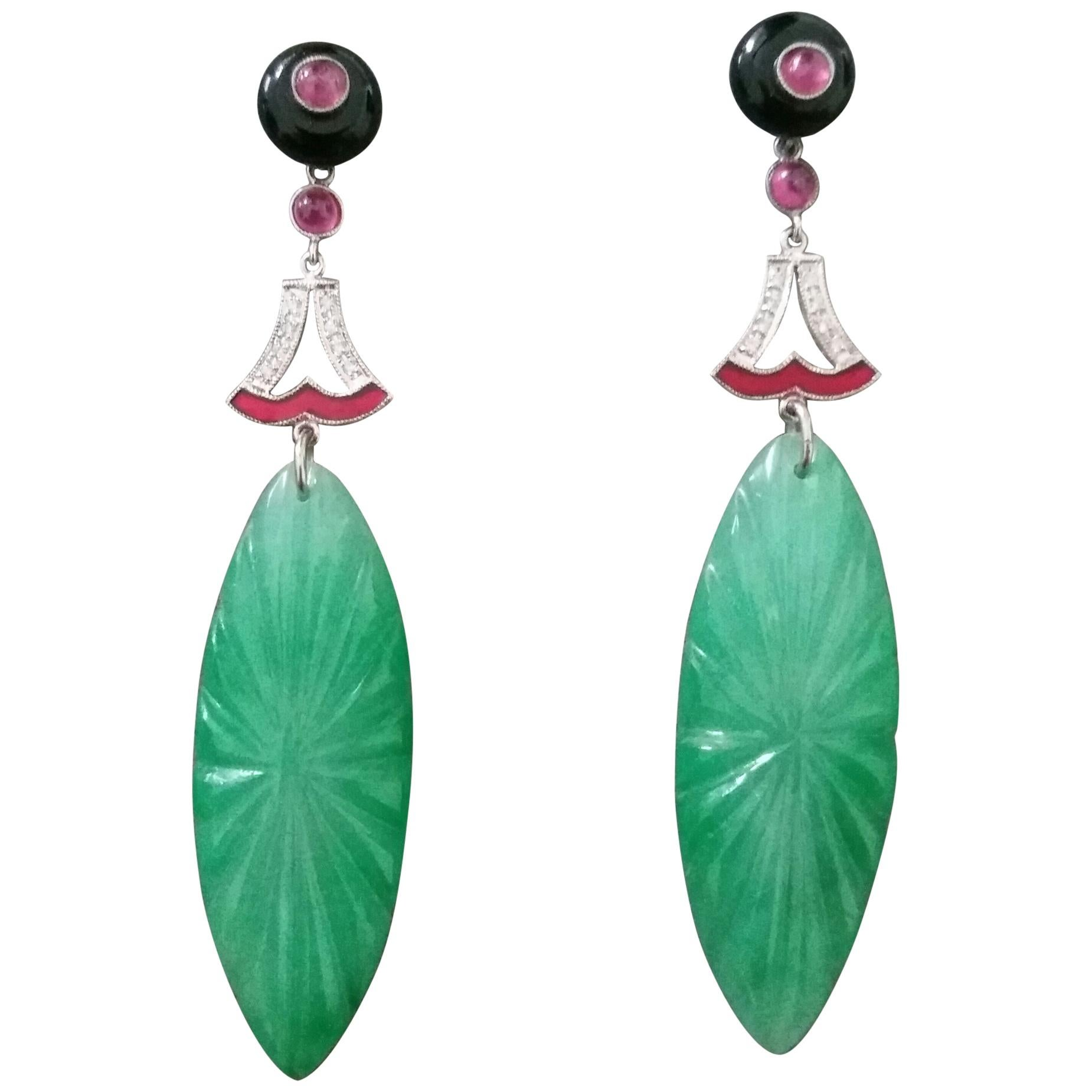 Art Deco Style Engraved Jade Ruby Black Onix Gold Diamonds Enamel Drop Earrings