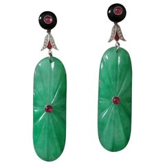 Art Deco Style Engraved Jade Ruby Black Onyx Gold Diamonds Enamel Drop Earrings