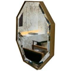 Art Deco Style Eros Octagonal Brass Mirror Antique Mirror and Bevel Detail