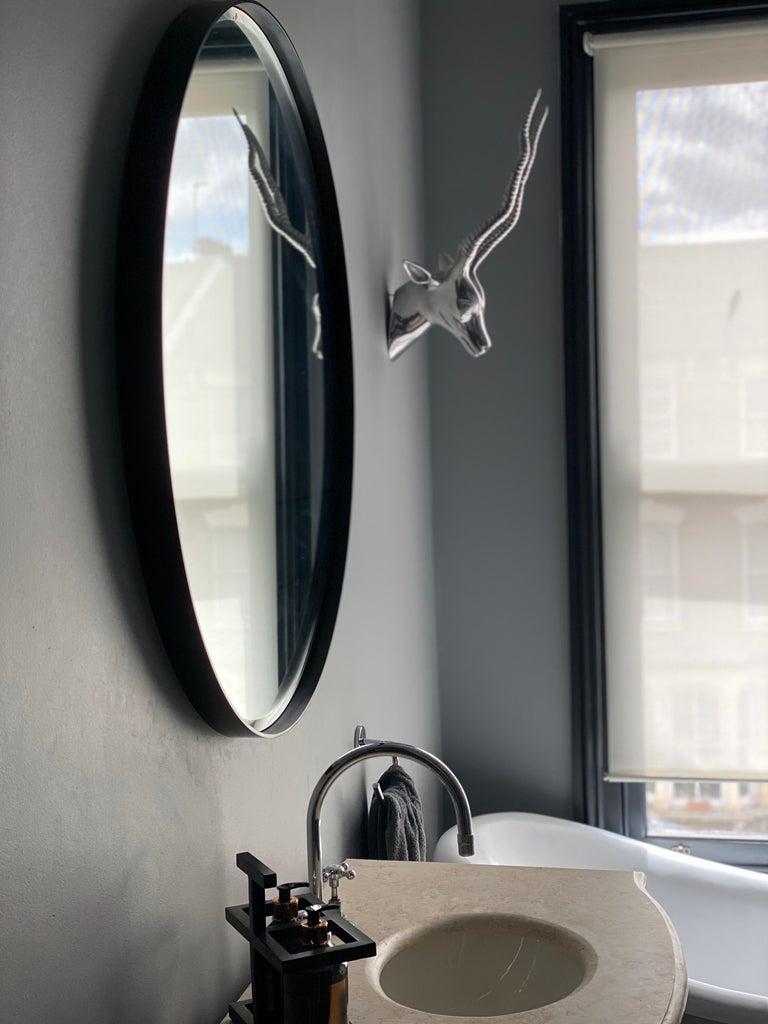 British Art Deco Style Eros Round Mirror Mirror Black with Bevelled Detail For Sale