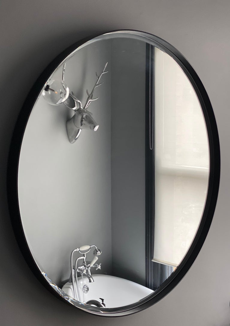 Brass Art Deco Style Eros Round Mirror Mirror Black with Bevelled Detail For Sale