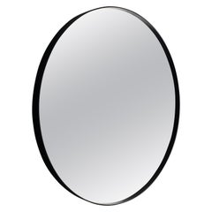 Art Deco Style Eros Round Mirror Mirror Black with Bevelled Detail