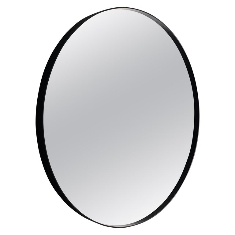 Art Deco Style Eros Round Mirror Mirror Black with Bevelled Detail For Sale