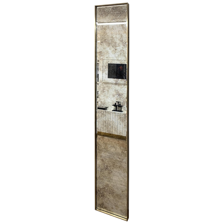 Art Deco Style Eros Slim Brass Mirror with Antique Mirror Beveling Detail