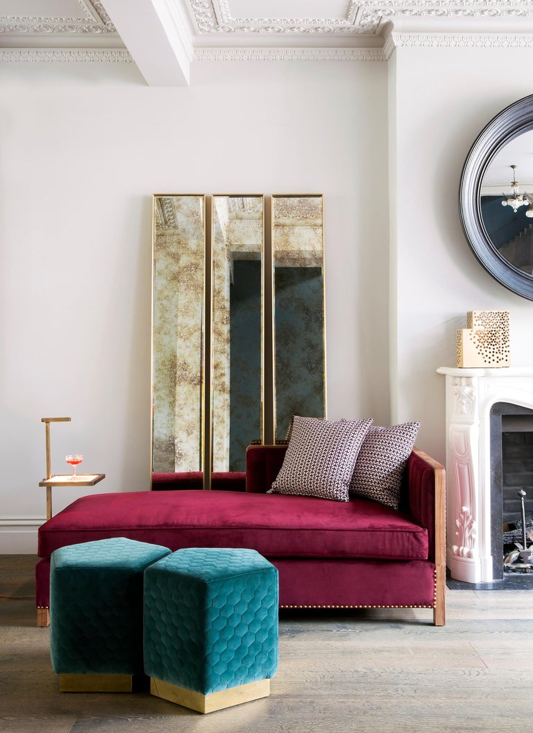 Art Deco Style Eros Slim Brass Mirror with Antique Mirror with Bevelling Detail For Sale 1