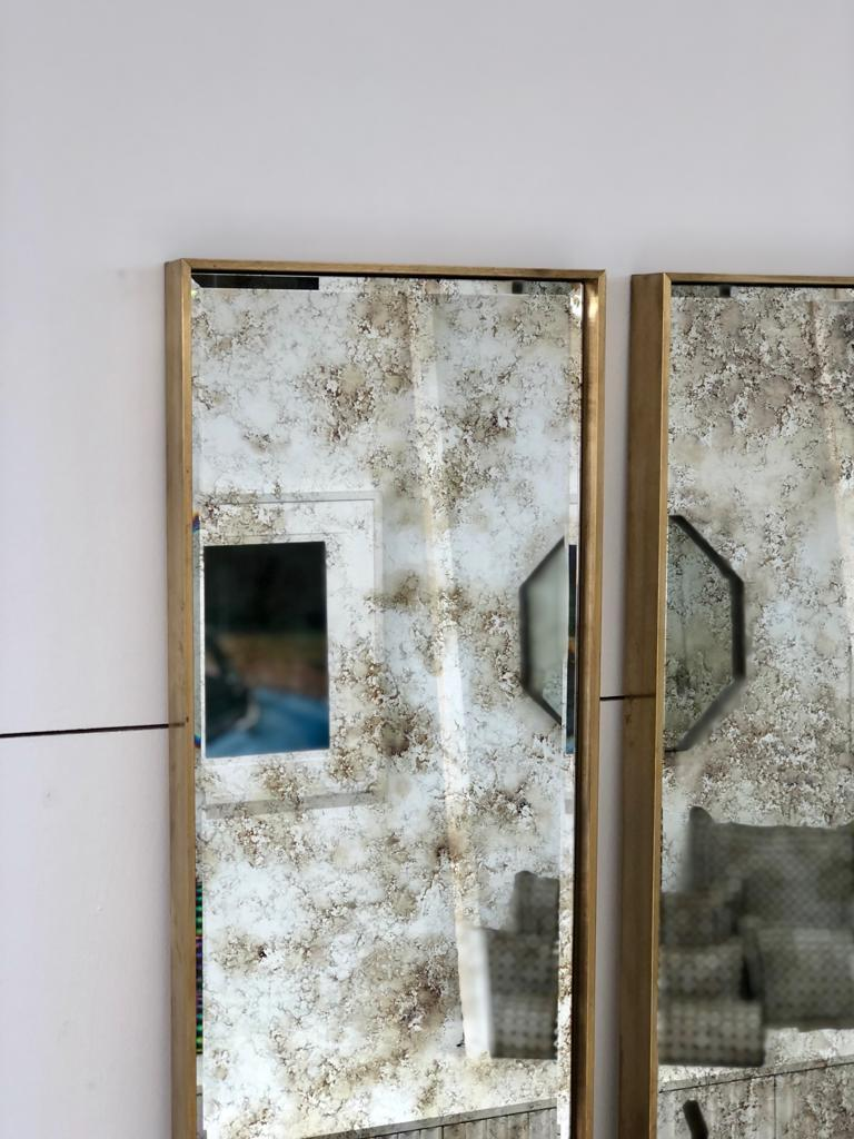 Art Deco Style Eros Slim Brass Mirror with Antique Mirror with Bevelling Detail For Sale 3