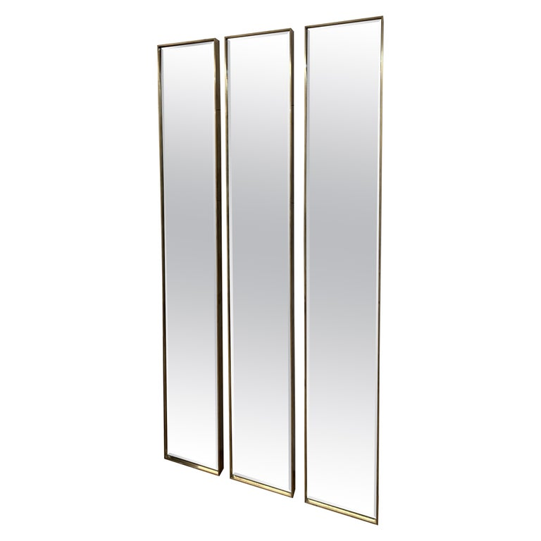 Art Deco Style Eros Slim Brass Mirror with Antique Mirror with Bevelling Detail For Sale
