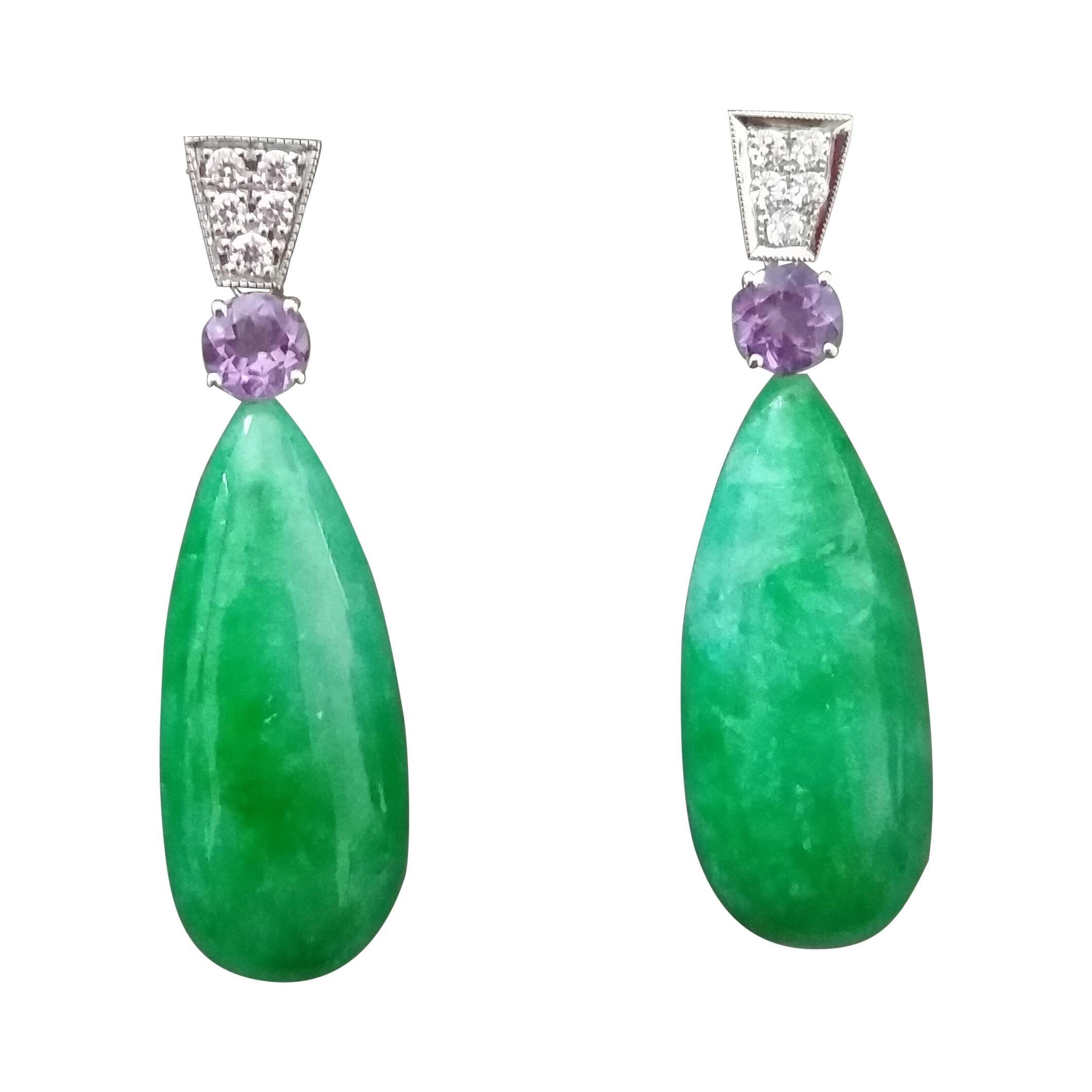 Art Deco Style Faceted Amethyst Diamonds 14 Kt White Gold Jade Drops Earrings