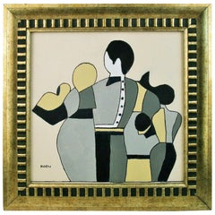 Art Deco Style Family Painting