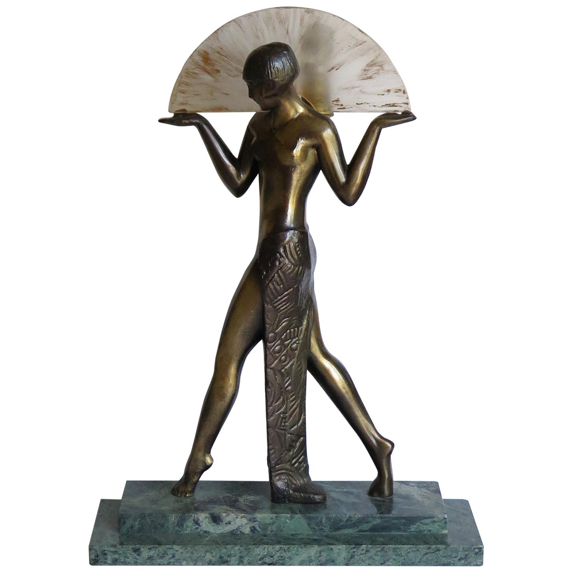 Art Deco Style Fan Dancer Figurine Lamp after Max Le Verrier, Mid-20th Century
