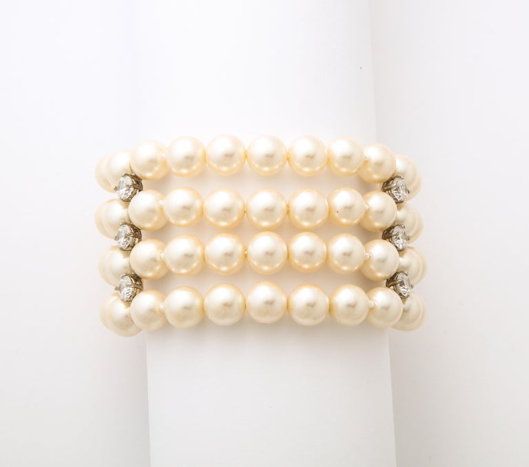 On Sale!! Art Deco Style Faux Diamond Sterling Japanese Glass Pearl Bracelet In New Condition For Sale In New York, NY
